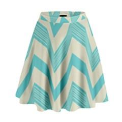 Blue waves pattern                                                           High Waist Skirt