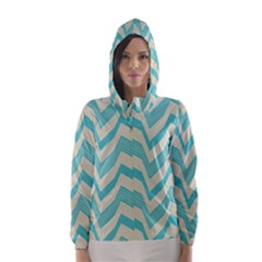 Blue waves pattern                                                         Hooded Wind Breaker (Women)