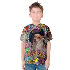 Chi Chi In Butterflies, Chihuahua Dog In Cute Hat Kid s Cotton Tee