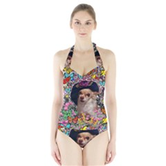 Chi Chi In Butterflies, Chihuahua Dog In Cute Hat Women s Halter One Piece Swimsuit