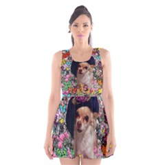 Chi Chi In Butterflies, Chihuahua Dog In Cute Hat Scoop Neck Skater Dress