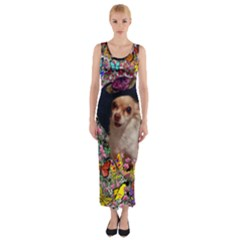 Chi Chi In Butterflies, Chihuahua Dog In Cute Hat Fitted Maxi Dress