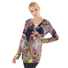 Chi Chi In Butterflies, Chihuahua Dog In Cute Hat Women s Tie Up Tee