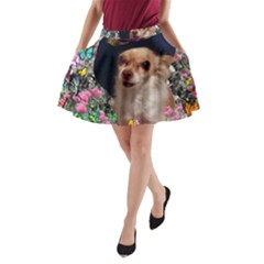 Chi Chi In Butterflies, Chihuahua Dog In Cute Hat A-Line Pocket Skirt
