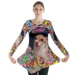 Chi Chi In Butterflies, Chihuahua Dog In Cute Hat Long Sleeve Tunic