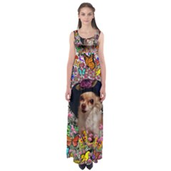 Chi Chi In Butterflies, Chihuahua Dog In Cute Hat Empire Waist Maxi Dress