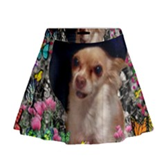 Chi Chi In Butterflies, Chihuahua Dog In Cute Hat Mini Flare Skirt