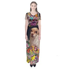 Chi Chi In Butterflies, Chihuahua Dog In Cute Hat Short Sleeve Maxi Dress
