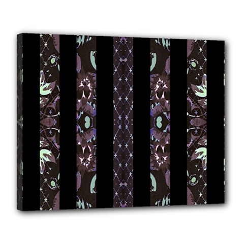 Oriental Floral Stripes Canvas 20  x 16