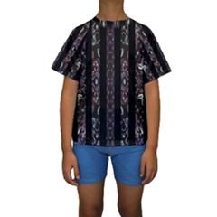 Oriental Floral Stripes Kid s Short Sleeve Swimwear