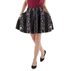 Oriental Floral Stripes A Line Pocket Skirt