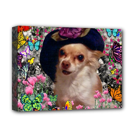 Chi Chi In Butterflies, Chihuahua Dog In Cute Hat Deluxe Canvas 16  x 12