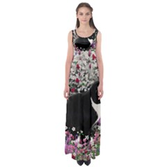 Freckles In Flowers Ii, Black White Tux Cat Empire Waist Maxi Dress