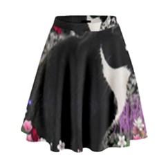 Freckles In Flowers Ii, Black White Tux Cat High Waist Skirt