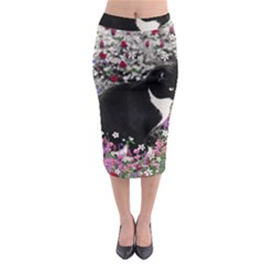 Freckles In Flowers Ii, Black White Tux Cat Midi Pencil Skirt