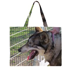9 Month old wolf  Large Tote Bag
