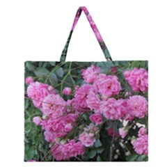 Wild Roses Zipper Large Tote Bag