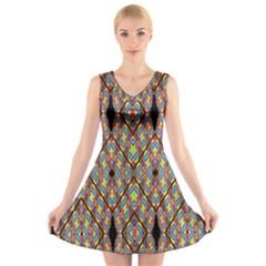 Help One One Two V Neck Sleeveless Skater Dress