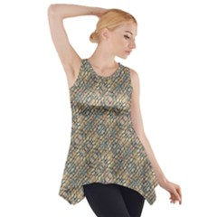 Cobblestone Geometric Texture Side Drop Tank Tunic