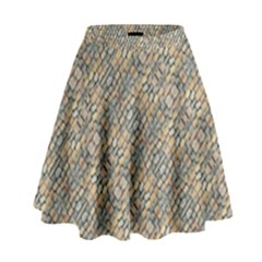 Cobblestone Geometric Texture High Waist Skirt