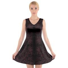 SPOTTED V-Neck Sleeveless Skater Dress