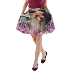 Chi Chi In Flowers, Chihuahua Puppy In Cute Hat A Line Pocket Skirt