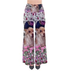 Chi Chi In Flowers, Chihuahua Puppy In Cute Hat Women s Chic Palazzo Pants