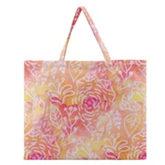 Sunny floral watercolor Zipper Large Tote Bag