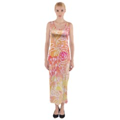 Sunny Floral Watercolor Fitted Maxi Dress