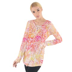 Sunny floral watercolor Women s Tie Up Tee