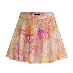 Sunny floral watercolor Mini Flare Skirt