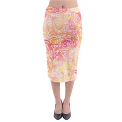 Sunny floral watercolor Midi Pencil Skirt