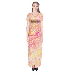 Sunny Floral Watercolor Short Sleeve Maxi Dress