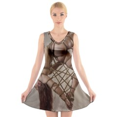 Shibari King of Diamonds V-Neck Sleeveless Skater Dress