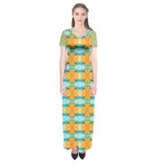 Dragonflies Summer Pattern Short Sleeve Maxi Dress