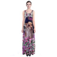 Chi Chi In Flowers, Chihuahua Puppy In Cute Hat Sleeveless Maxi Dress