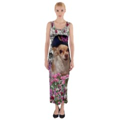 Chi Chi In Flowers, Chihuahua Puppy In Cute Hat Fitted Maxi Dress