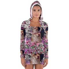 Chi Chi In Flowers, Chihuahua Puppy In Cute Hat Women s Long Sleeve Hooded T-shirt