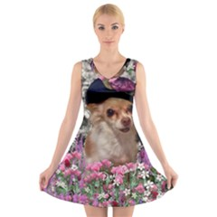 Chi Chi In Flowers, Chihuahua Puppy In Cute Hat V-Neck Sleeveless Skater Dress