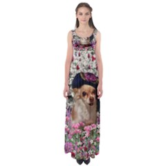Chi Chi In Flowers, Chihuahua Puppy In Cute Hat Empire Waist Maxi Dress