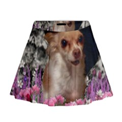 Chi Chi In Flowers, Chihuahua Puppy In Cute Hat Mini Flare Skirt