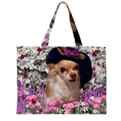 Chi Chi In Flowers, Chihuahua Puppy In Cute Hat Zipper Large Tote Bag