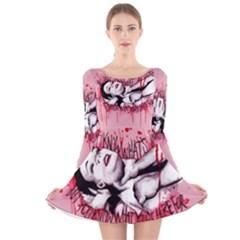 High For This Long Sleeve Velvet Skater Dress