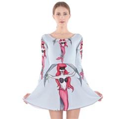 Bad Mermaid Long Sleeve Velvet Skater Dress