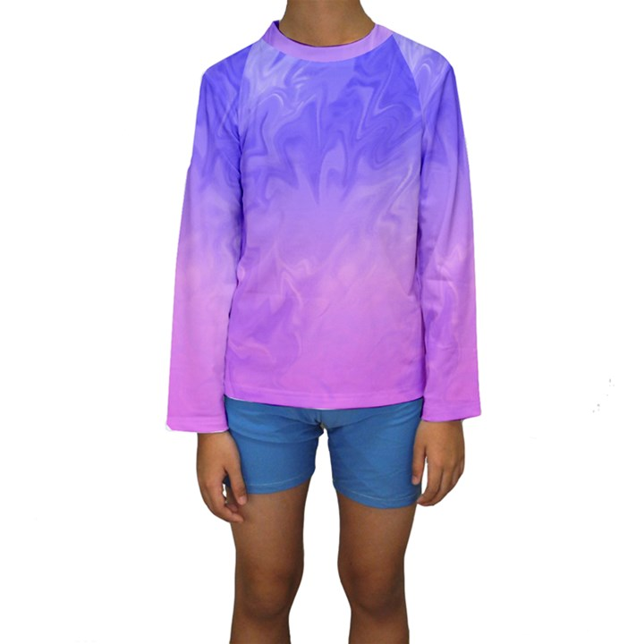 Ombre Purple Pink Kid s Long Sleeve Swimwear