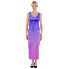 Ombre Purple Pink Fitted Maxi Dress