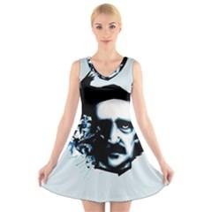 Edgar Allan Poe Crows V Neck Sleeveless Skater Dress
