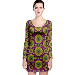 Sunroses Mixed With Stars In A Moonlight Serenade Long Sleeve Bodycon Dress