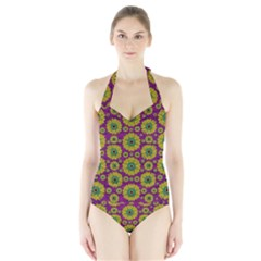 Sunroses Mixed With Stars In A Moonlight Serenade Women s Halter One Piece Swimsuit