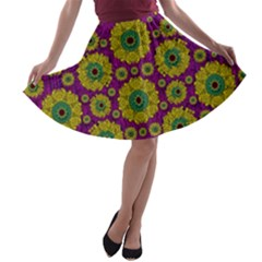 Sunroses Mixed With Stars In A Moonlight Serenade A Line Skater Skirt